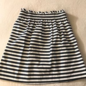 J. Crew Skirt White and Blue Striped Size 4